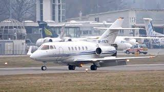 Raytheon Hawker 800XP, Landing at airport Bern-Belp  HD
