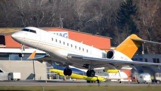 Beautiful Bombardier BD700 Global 5000 takes off in Berne HD
