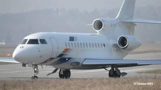 Dassault Falcon 7X takeoff at airport Bern-Belp  HD