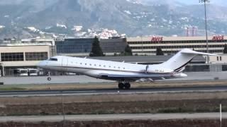 Private Bombardier BD 700 1A10 Global 6000 CS-GLA Take Off Malaga AGP
