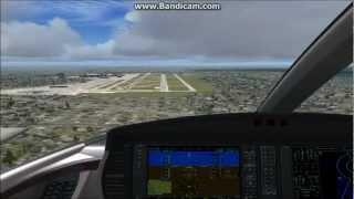 FSX: Cirrus Vision Landing In Stormy Conditions.